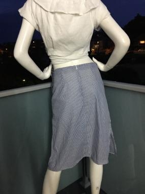 Midi Skirt in Blue Stripes with side splits