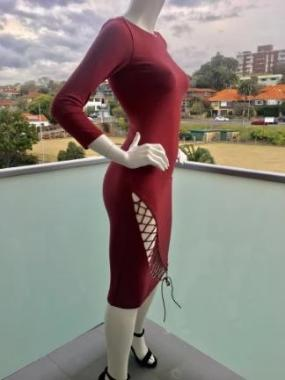 Tie Me Up Bodycon Dress in Ruby Red side view