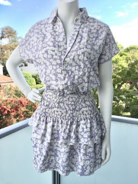 Shirt Dress with Smocked Ruffled Skirting in Lilac Floral