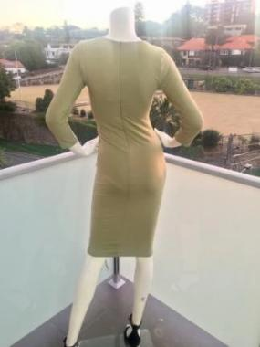 Tie Me Up Bodycon Dress in Light Khaki back view