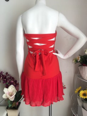 Strapless Back Lace Up Dress in Red