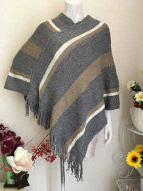 Poncho in Beige, Grey, Ivory Stripes