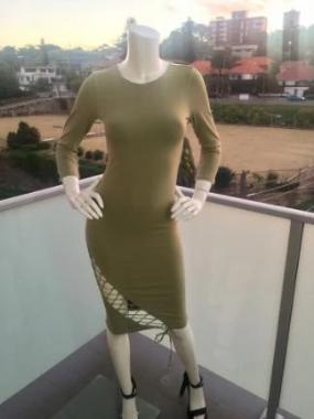 Tie Me Up Bodycon Dress in Light Khaki front view