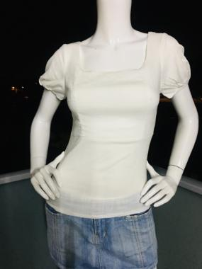 Cotton Short Sleeve Top in White