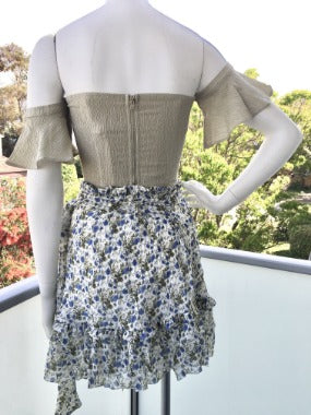 Chiffon Wrap Skirt in White Blue Floral