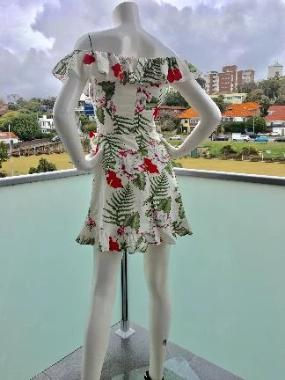 Cotton Ruffle Floral Mini Dress