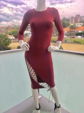 Tie Me Up Bodycon Dress in Ruby Red front view