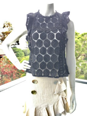 Sleeveless Lace Top in Black