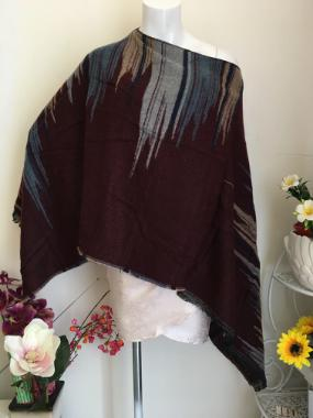 Poncho in Burgandy