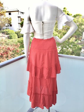 Smocked Waist Maxi Skirt in Red