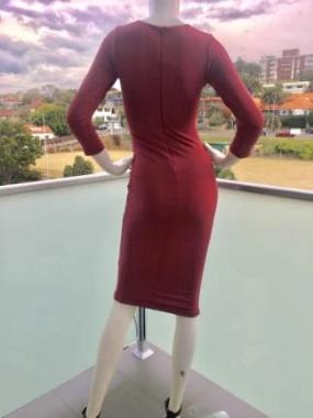 Tie Me Up Bodycon Dress in Ruby Red back view