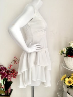 Tiered Ruffle 80's Style Dress in White
