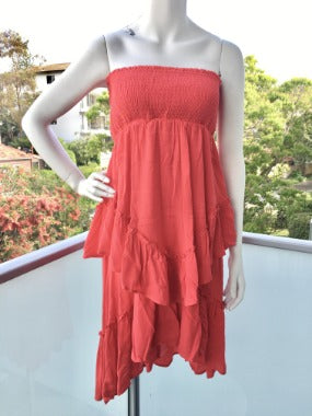 Strapless Ruffle Smocked Dress in Red worn as a dress