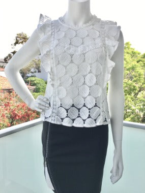 Sleeveless Lace Top in White