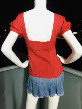 Cotton Short Sleeve Top in Red