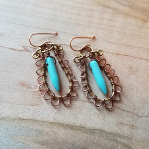Turquoise Howlite Bullets in Copper Fringe