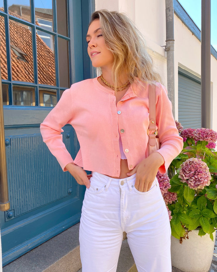Harlow crop cardigan - pink/peach top May