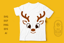 Load image into Gallery viewer, Christmas SVG - Cute Reindeer SVG , Smiling Reindeer face SVG