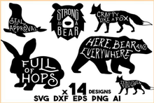 Load image into Gallery viewer, Animal SVG Bundle - 14 Animal Sayings and Puns - bunny svg, fish svg, fox, dog svg,bear svg, Cat svg,Animal Silhouette