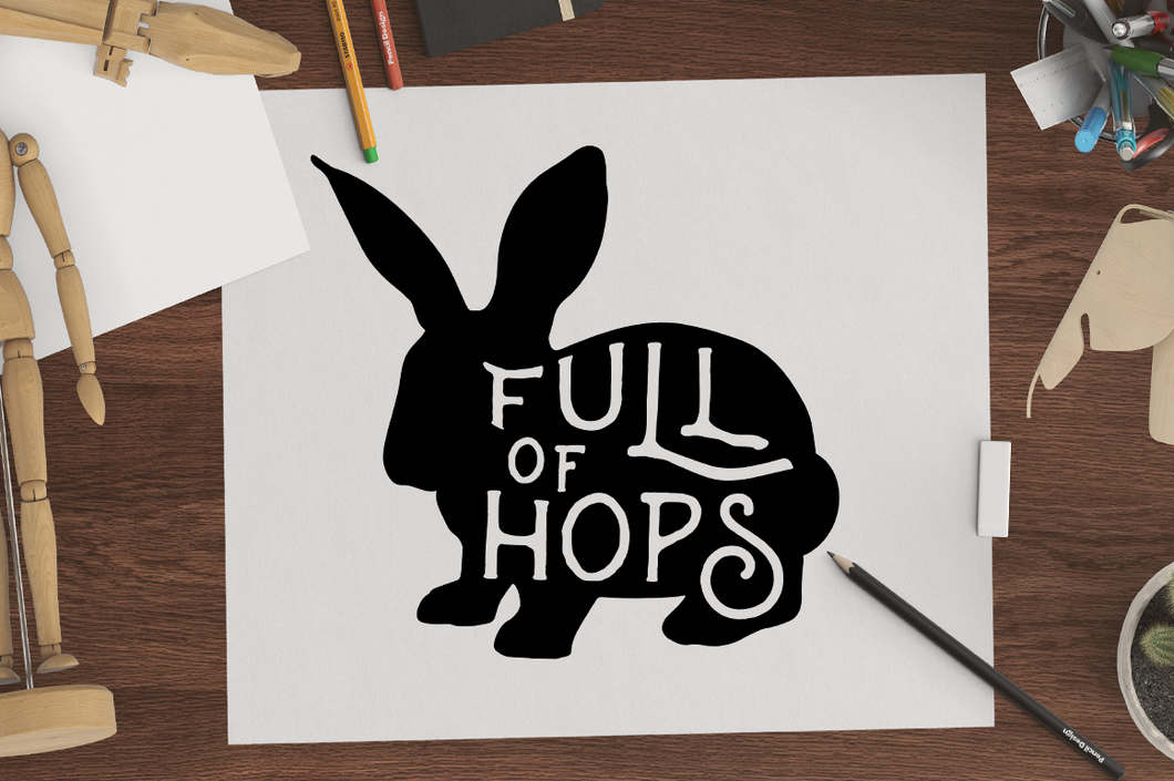Full of Hops SVG FIle - Bunny Silhouette SVG File