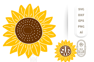 Sunflower SVG & Sunflower Monogram Frame SVG Cut Files