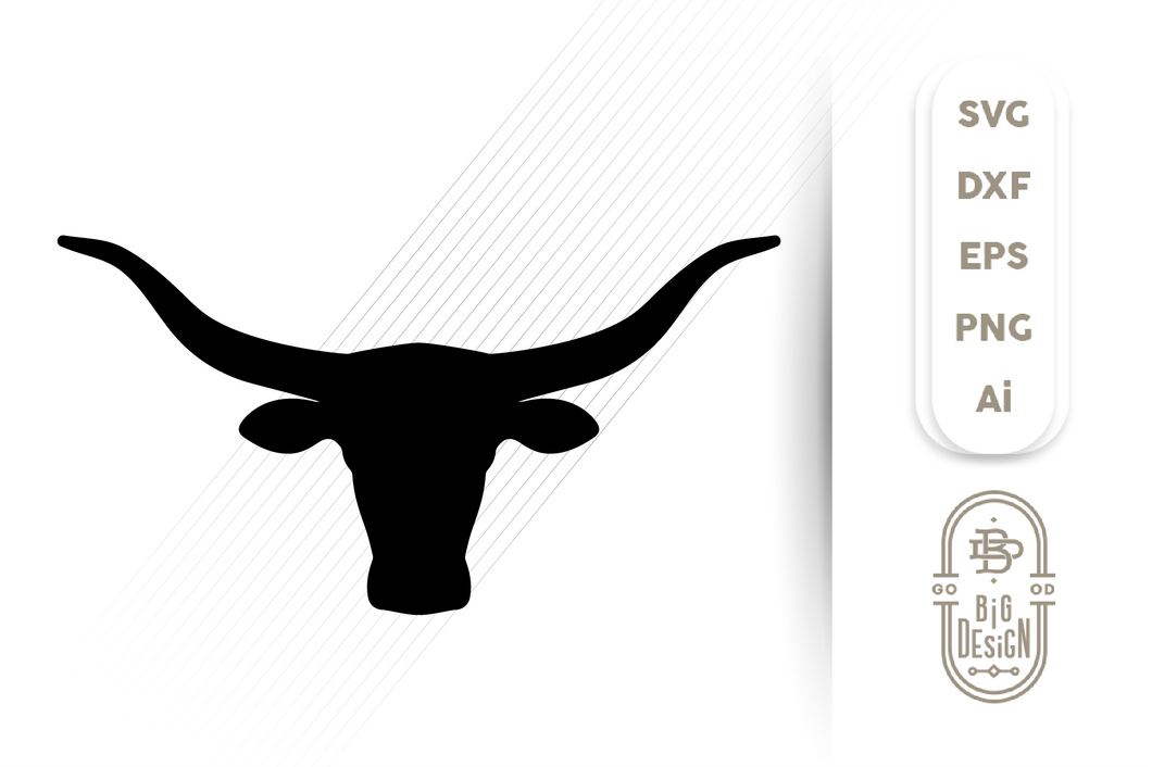 Texas Longhorn SVG File - Bull Head Silhouette SVG