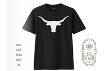 Load image into Gallery viewer, Texas Longhorn SVG File - Bull Head Silhouette SVG