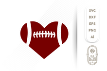 Load image into Gallery viewer, Football SVG - Football Heart Svg , Football Love SVG , Football Silhouette Svg, Football lace svg