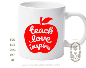 FREE SVG - Teach Love Inspire SVG - Teacher Svg  , Teacher life Svg , School Svg , Apple Svg