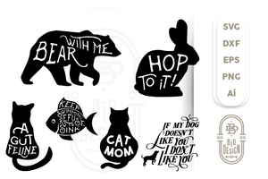 Animal SVG Bundle - 14 Animal Sayings and Puns - bunny svg, fish svg, fox, dog svg,bear svg, Cat svg,Animal Silhouette