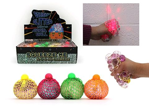 SQUISHY GLITTER LIGHT UP BALL