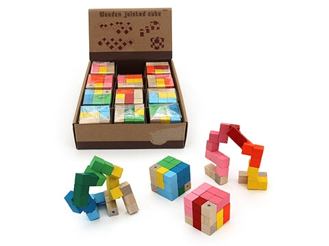 WOODEN JOINTED CUBE PUZZLE