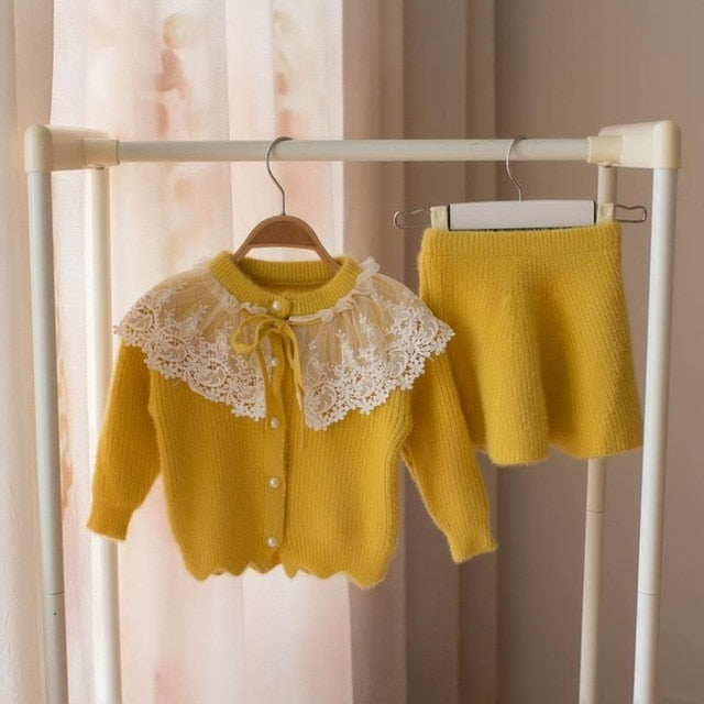 baby girls Clothes set Lace Wool Sweater suit for girl Autumn Spring Kids 2 pcs Clothing Children outfits Shirt skirt Outerwear