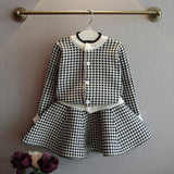Girls Clothes Set Long Sleeve Cardigan & Skirt 2 Pcs Clothing Suit for Kids Baby Warm Outerwear Sets Vintage Plaid Children Sets