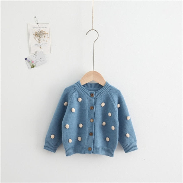 Girls Sweaters Autumn Winter Baby Girl Sweater Pompom Cotton Woolen Kids Toddler Girls Cardigan Coat Clothes Toddler Sweater