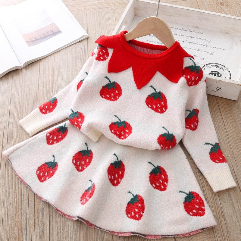 baby Autumn Winter girls Clothing set Kids cotton 2 pcs Cloths Children outfits Shirt + skirt Sweater suit for girls knitted 3T
