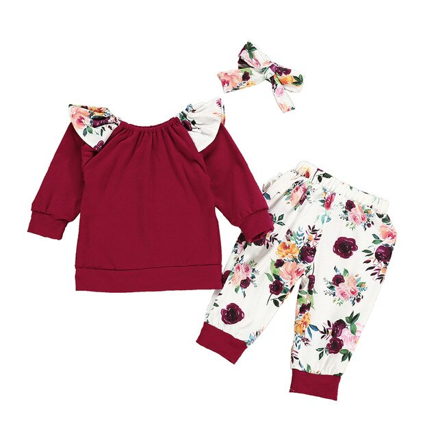 Newborn Girls Clothes Set Spring Autumn Solid T-shirt+Floral Pants+Headband 3pcs Toddler Baby Clothing Outfits