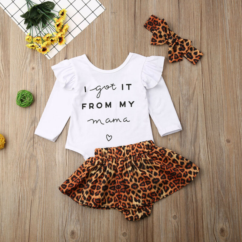 Toddler Baby Girl Clothes Long Sleeve letter Romper Tops + Leopard Skirt + Headband Autumn 3PCS Outfits Set