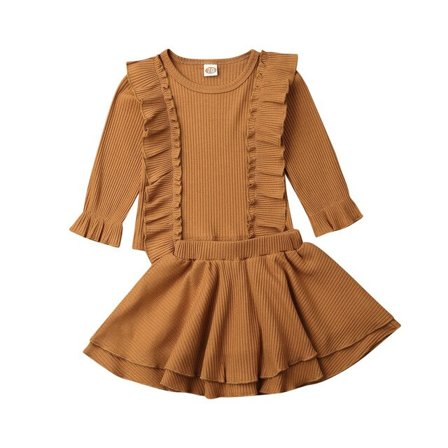 0-24M Cute Newborn Baby Girl Solid Color Long Sleeve Ruffles T-shirt Tops A-line Skirt 2PCS Outfits Baby Clothing Set