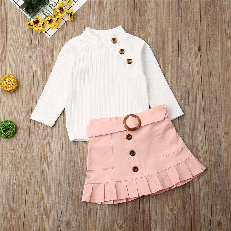 1-6Years Toddler Baby Girl Clothes Sets 2019 Winter White Knit Tops Sweaters+Button Mini Skirt Girls Outfits Warm Girls Clothing