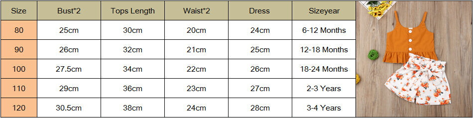 Summer Baby Kids Girls Toddler Tank Top Vest+Shorts 2Pcs Sets Outfits Clothes Girl's Button Print Fashion Sunsuits