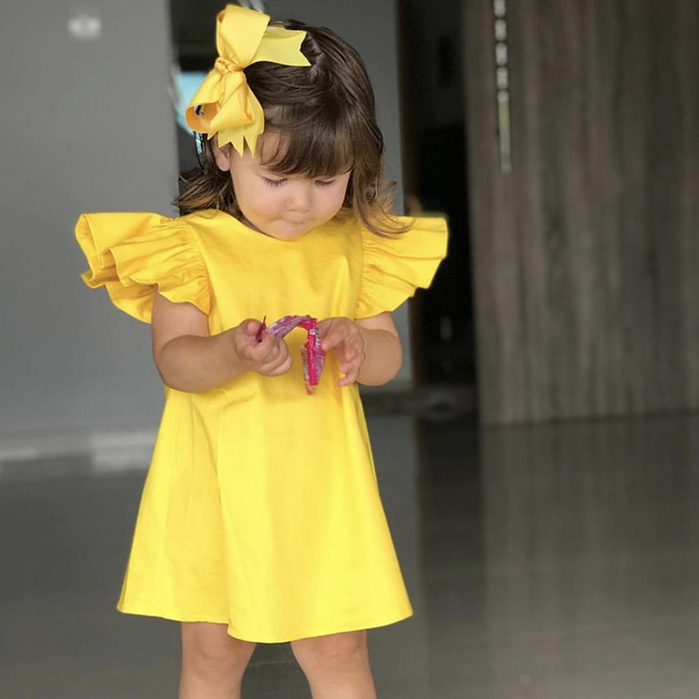 Hot Sale Summer Princess  Infant Baby Girls Fly Sleeve Solid Yellow Bow Loose Breathable Clothes Fashion Comfortable Dress Z22$