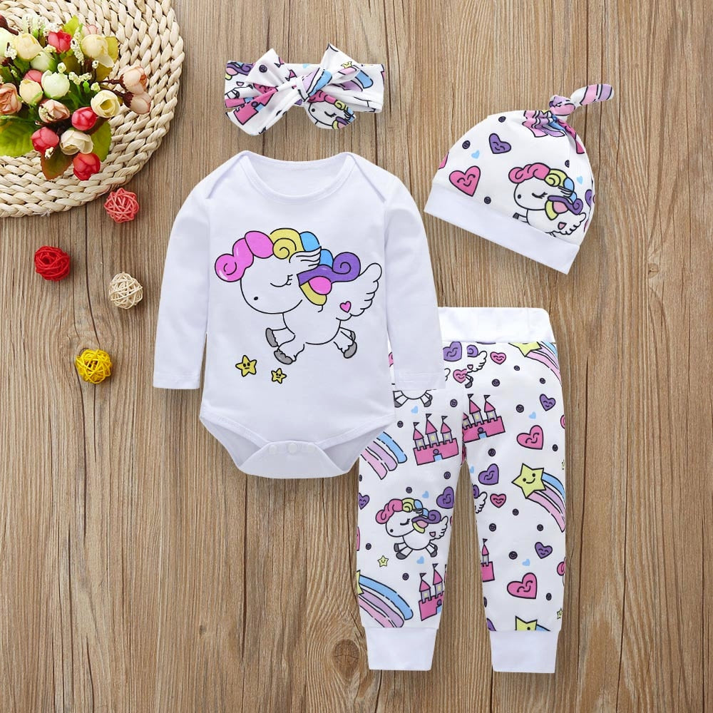 Newborn Infant Toddler Baby Girl Clothes Sets Infant Unicorn Pegasus Star Castle Tops+Pants+Hat+Headband 4PCS Baby Girl Clothing