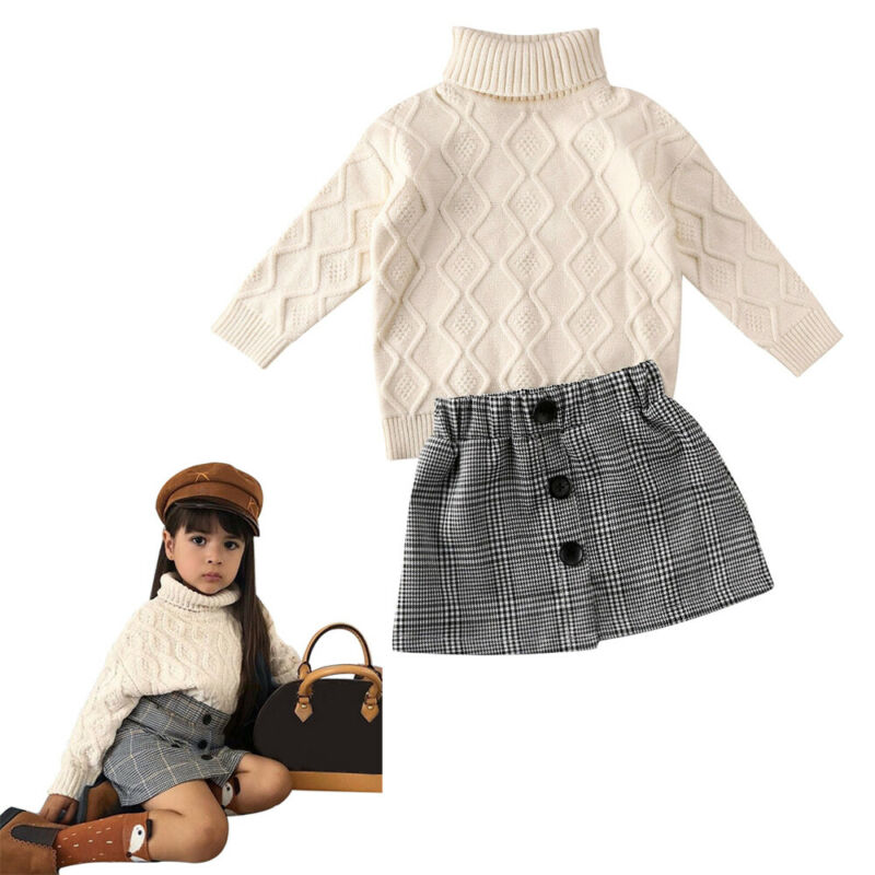 Elegant Baby Girlls Clothes Turtleneck Knit Sweater+Mini Plaid Skirt 2pcs Outfit  2020 Spring Kids Baby Winter Warn Clothes