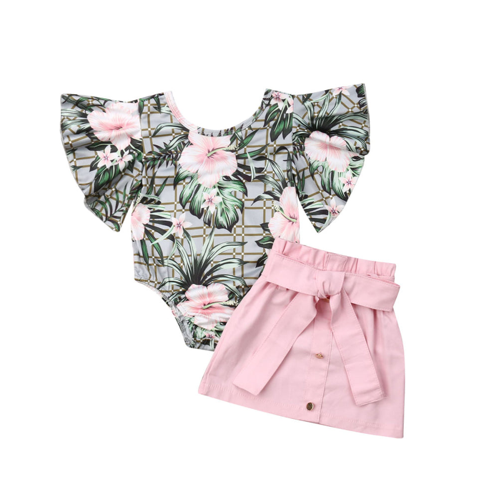 1-4T Baby Girls Clothing Set Summer Flower Sleeve Ruffle Clothes Set Tops + Pink Belt Skirt Dress Set