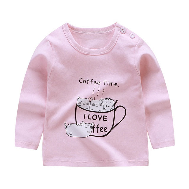 Unisex 6M-5T Autumn Winter Cotton T shirt Cartoon Long Sleeve Baby Boys Girls Tees Kids Children Casual Clothing O-Neck Clothes