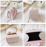 Korean Style Kids Mini Bags Cute Kids Tote Bag Princess Bow Messenger Bag for Baby Girl Pearl Party Tote Bags Gift
