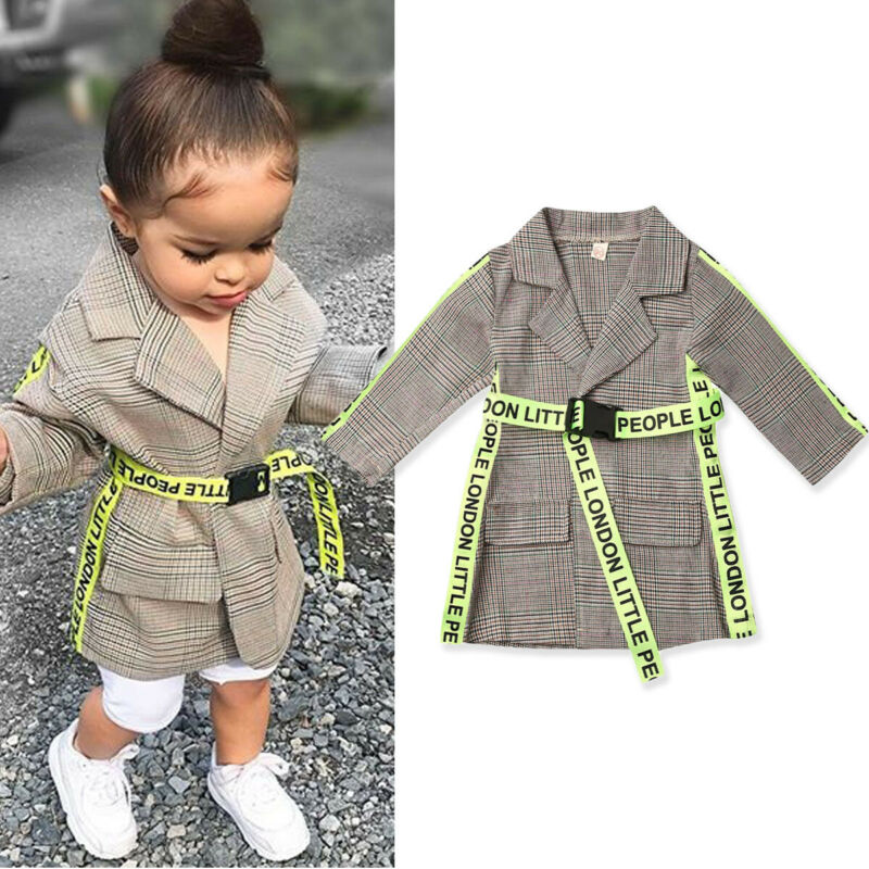 2020 Fashion Toddlers Baby Girl Winter Coats Clothing With Belt Plaid Print Coat Formal Jacket Outwear 0-5Y