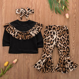 Fashio 2020 Girls Clothing Set Ruffle Leopard Top T-shirt + Pant Suits Girls Party Clothes