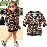Baby Girls Clothing Sets Leopard Milk Fiber Printed Silk Dress Mini V Neck Dress + Waistband 2 Pcs Girls Street Wear Autumn Outfits 1-6Y